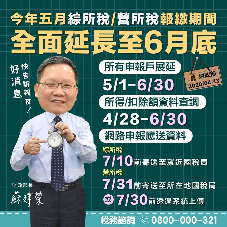 所得稅延後報繳期間至六月底